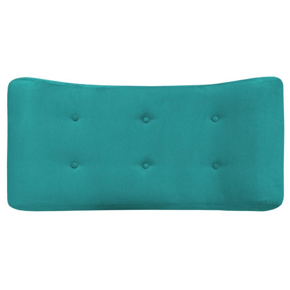 Puff Decorativa Marcela 100 cm com Pés Palito Suede Azul Tiffany