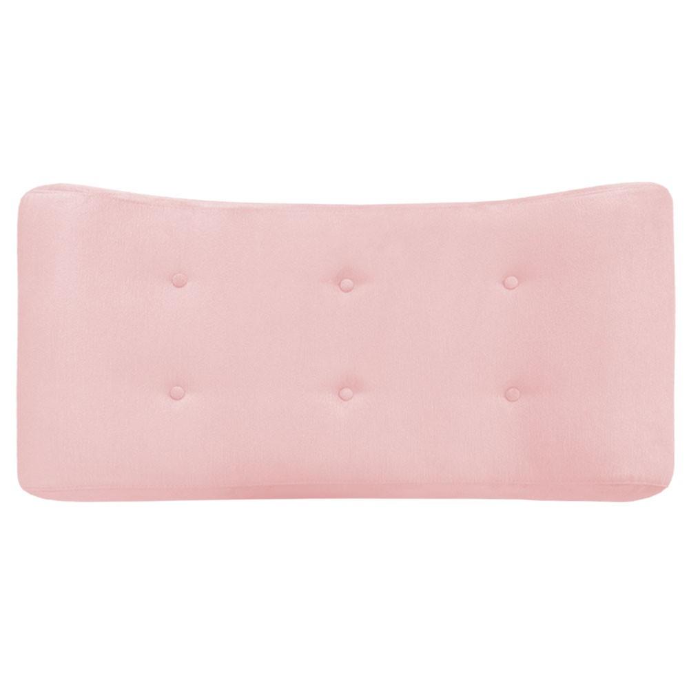 Puff Decorativa Marcela 100 cm com Pés Palito Suede Rosê