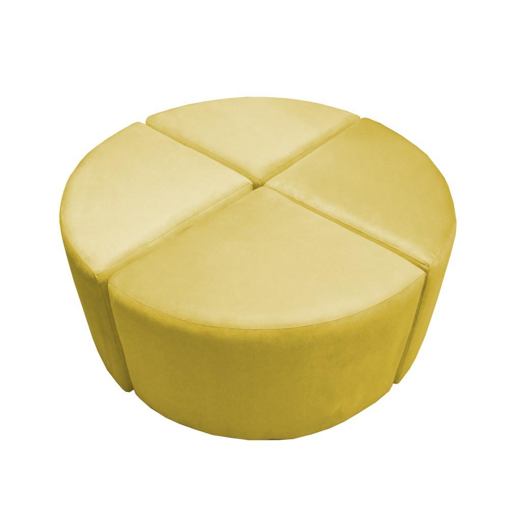 Puff Decorativo Acoplável 04 Lugares Puzzle Suede Amarelo
