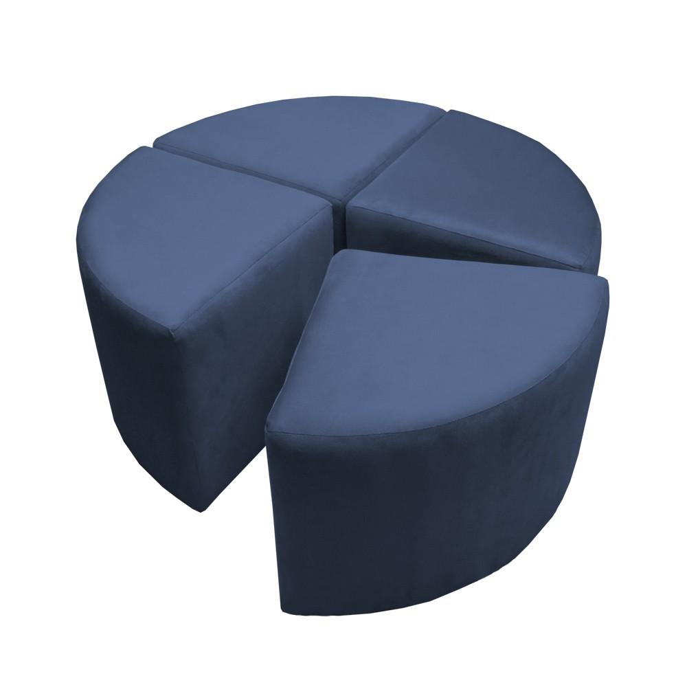 Puff Decorativo Acoplável 04 Lugares Puzzle Suede Azul Marinho