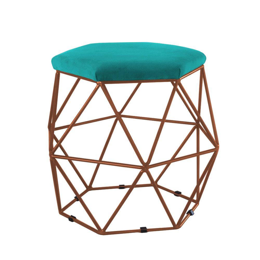 Puff Decorativo Aramado Bronze - Assento Suede Azul Tiffany
