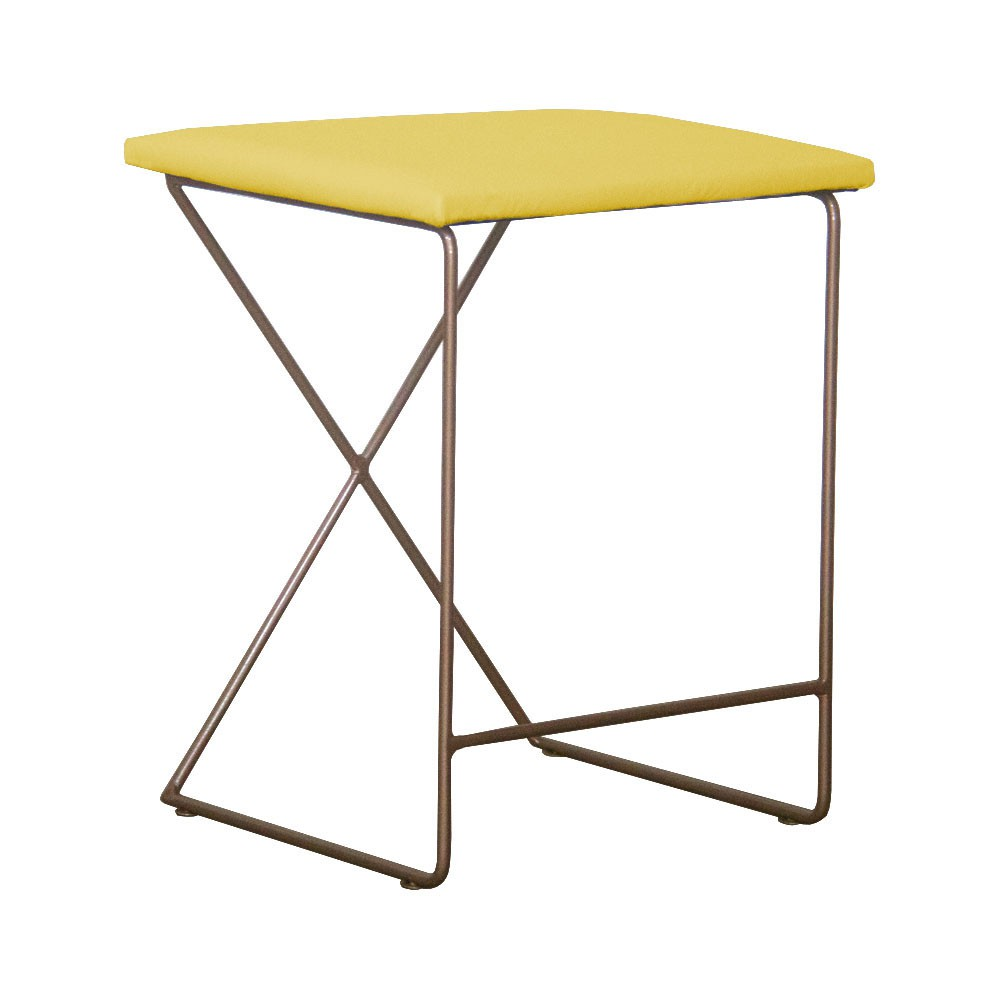 Puff Decorativo Aramado Dourado para Sala Sam Suede Amarelo