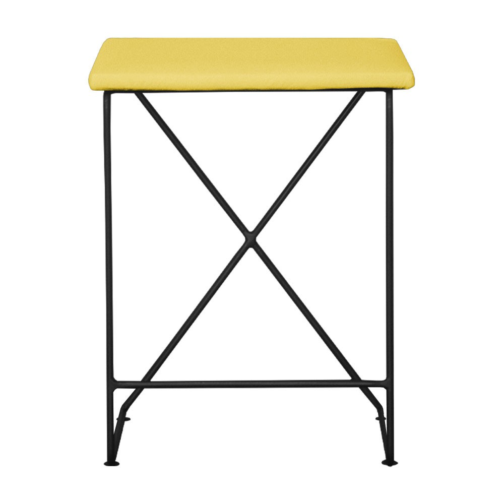 Puff Decorativo Aramado Preto para Sala Sam Suede Amarelo