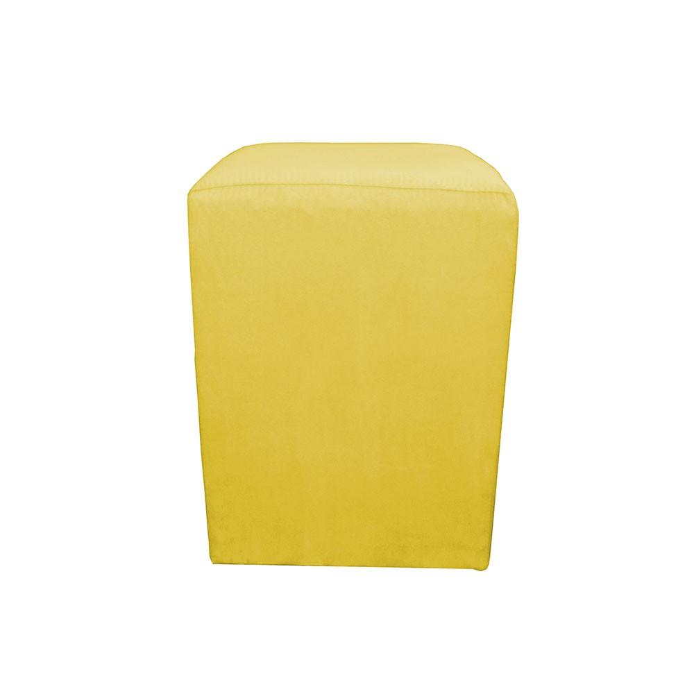 Puff Decorativo Dado 32 x 32 cm Suede Amarelo