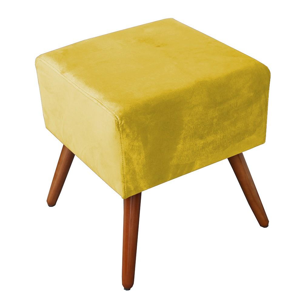Puff Puffs Quadrado Jéssica Quarto Sala Pé Palito Amarelo