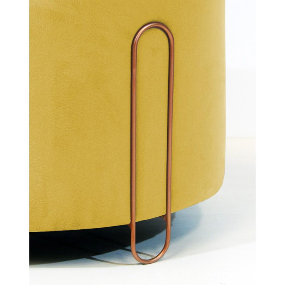 Puff Decorativo Redondo Duda Aramado Bronze Suede Amarelo
