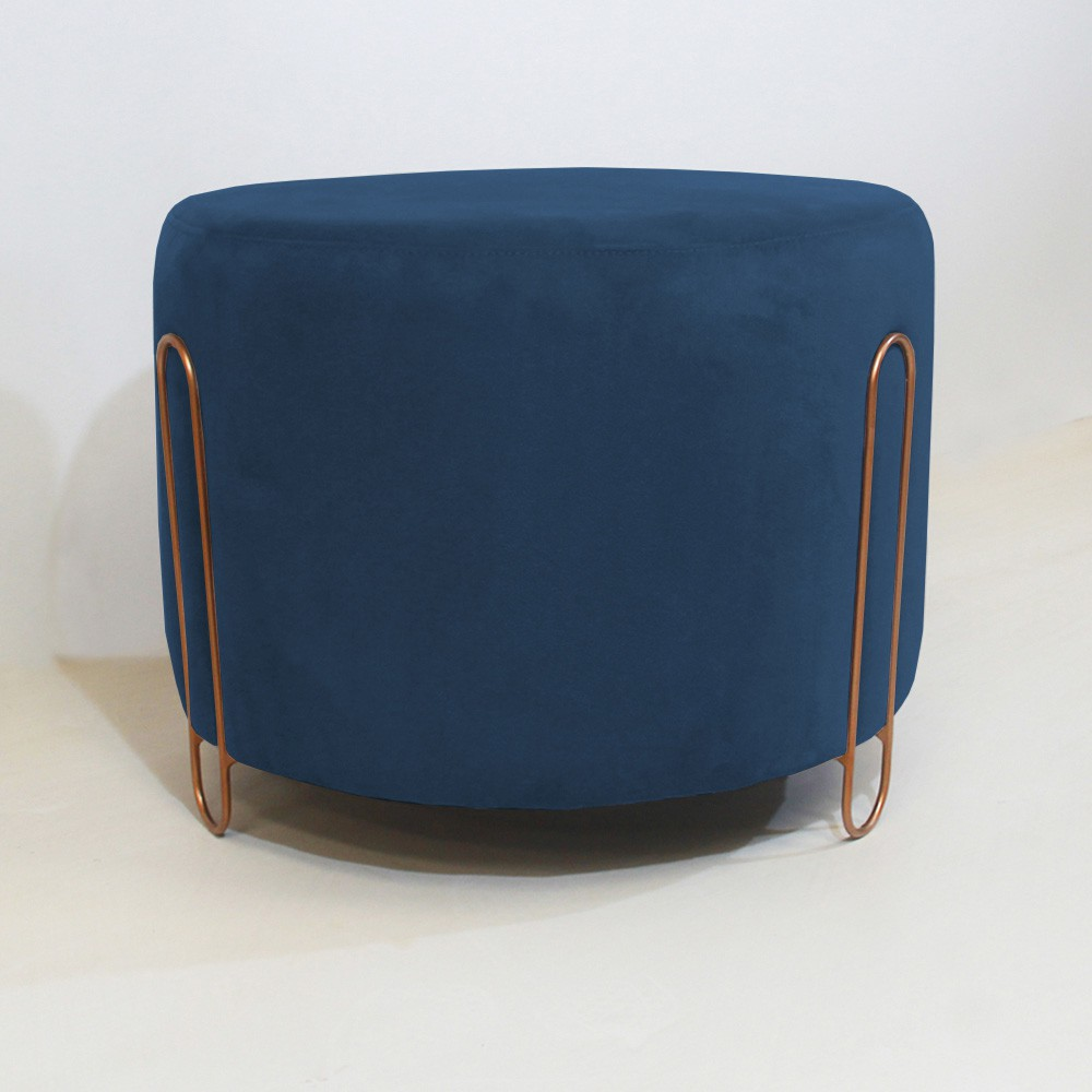 Puff Decorativo Redondo Duda Aramado Bronze Suede Azul Marinho