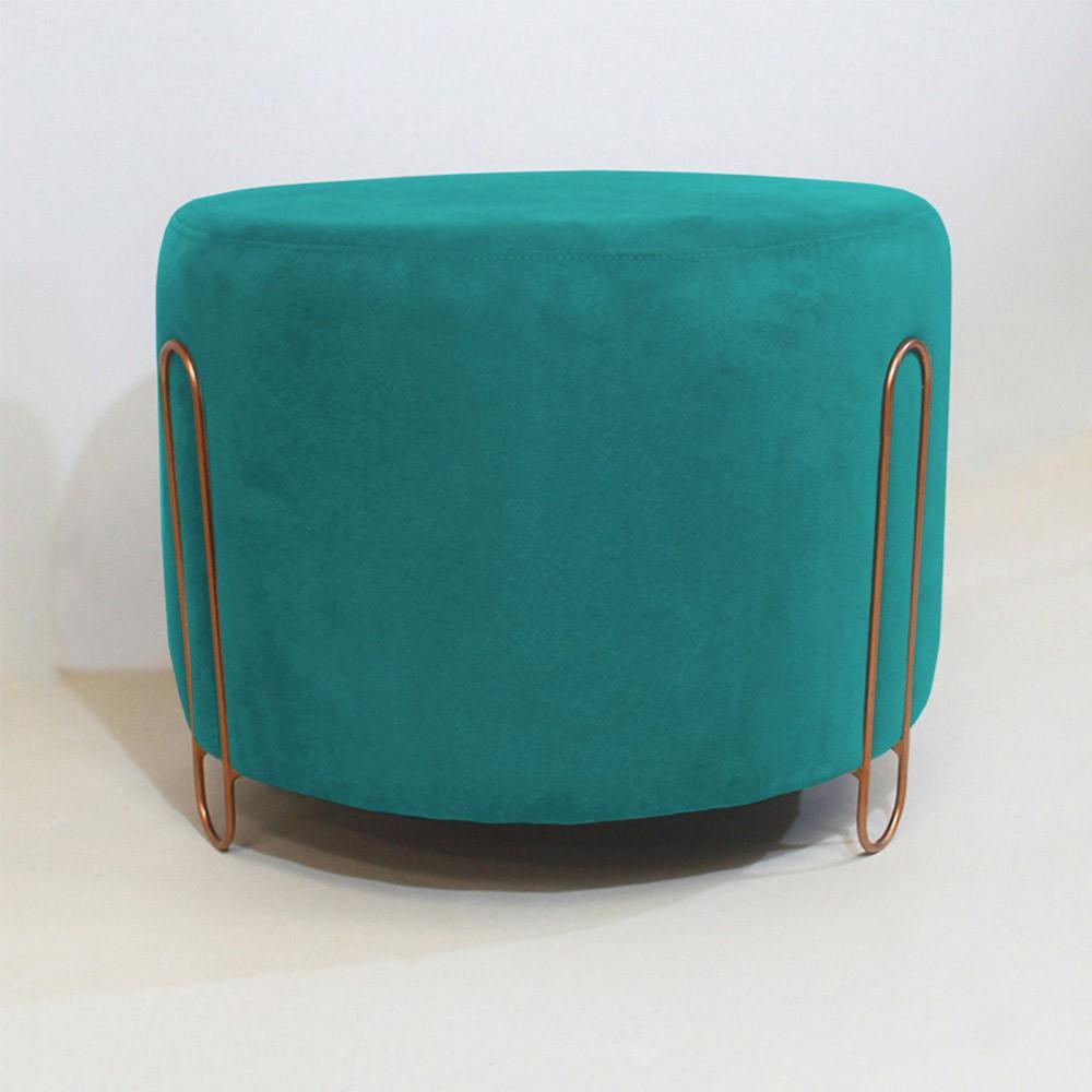 Puff Decorativo Redondo Duda Aramado Bronze Suede Azul Tifany