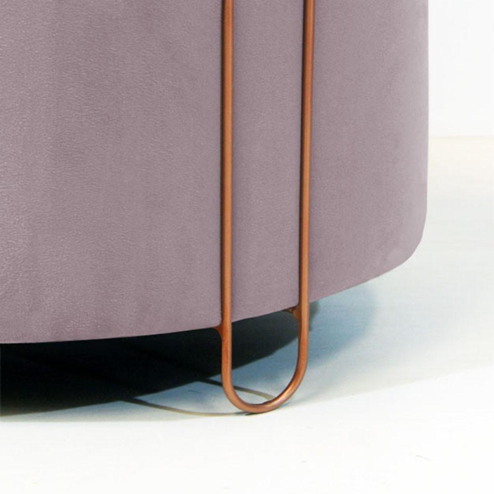 Puff Decorativo Redondo Duda Aramado Bronze Suede Crepe