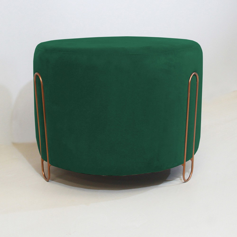Puff Decorativo Redondo Duda Aramado Bronze Suede Verde Bandeira