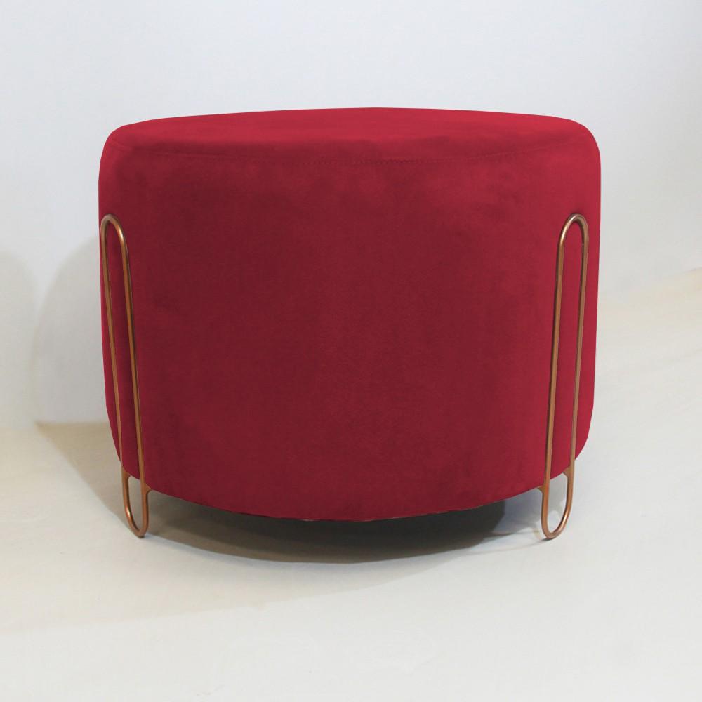 Puff Decorativo Redondo Duda Aramado Bronze Suede Vermelho