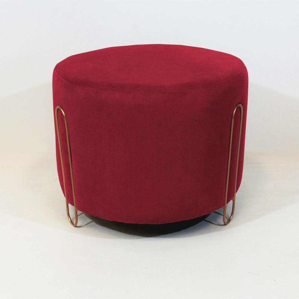 Puff Decorativo Redondo Duda Aramado Bronze Suede Vermelho - Decorar Estofados