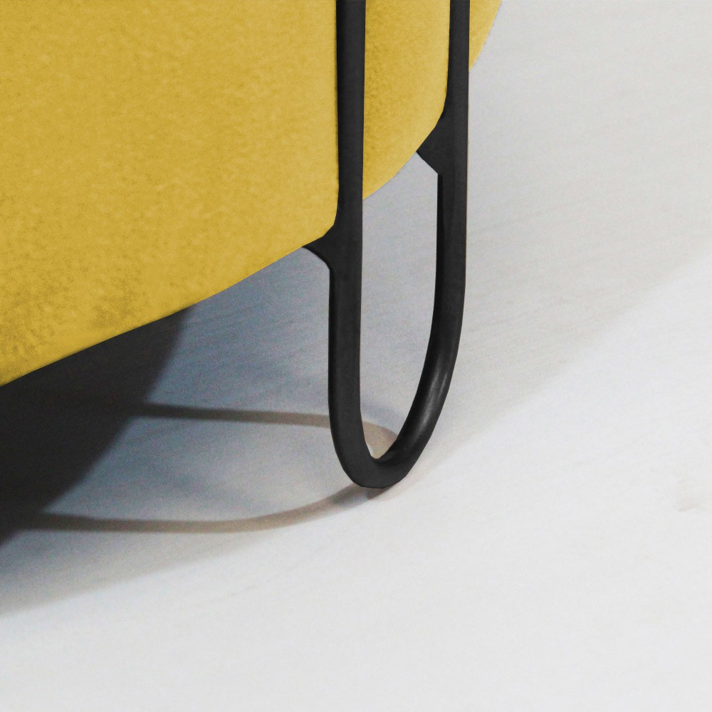 Puff Decorativo Redondo Duda Aramado Preto Suede Amarelo