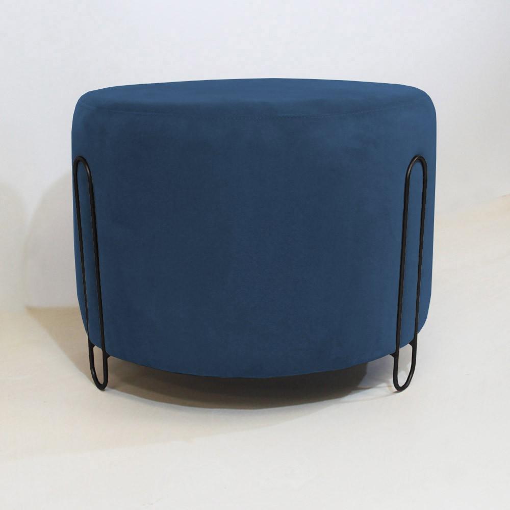 Puff Decorativo Redondo Duda Aramado Preto Suede Azul Marinho - Decorar Estofados