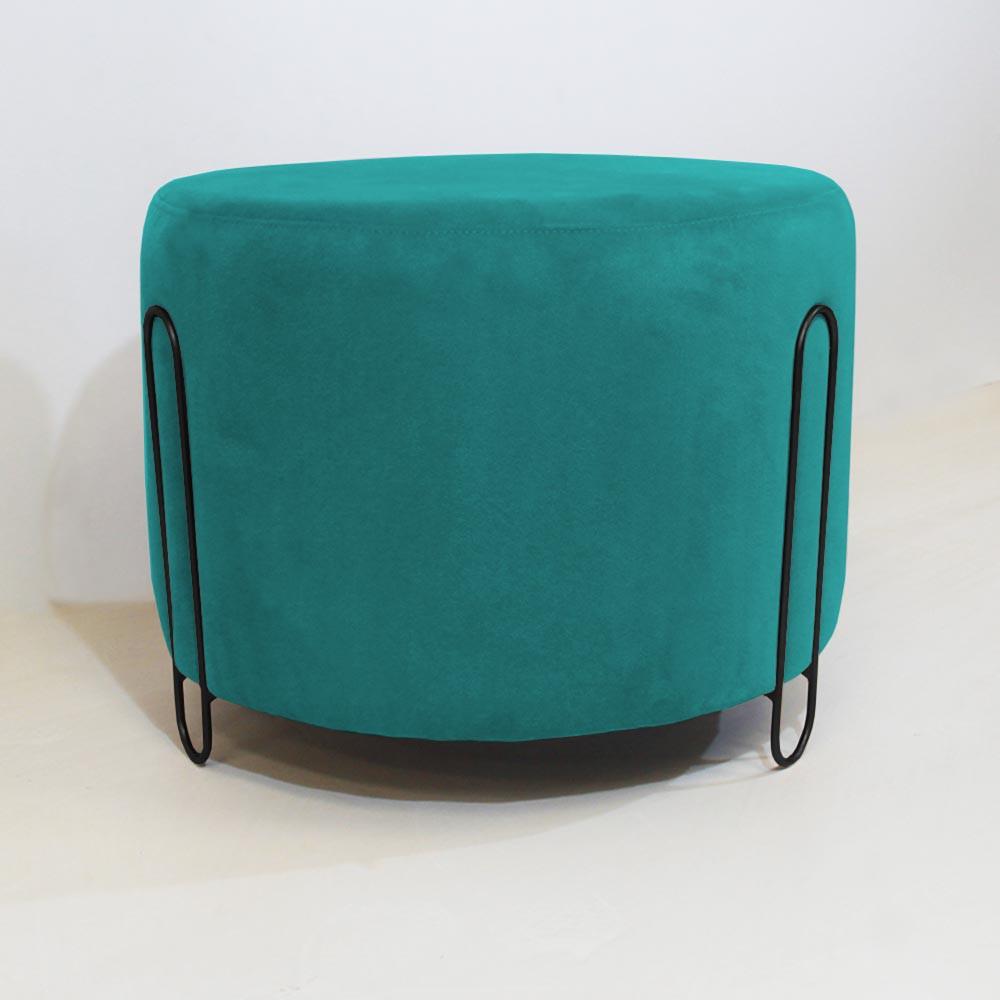 Puff Decorativo Redondo Duda Aramado Preto Suede Azul Tifany