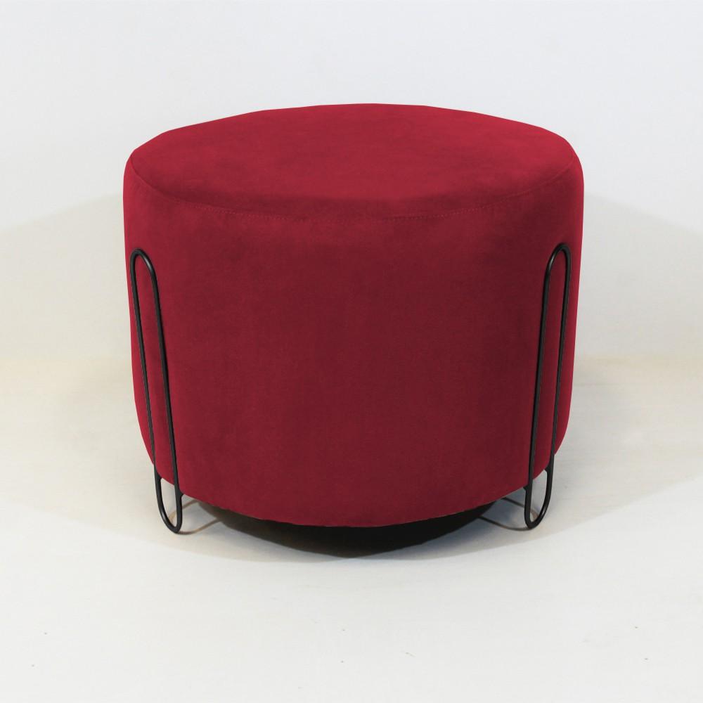 Puff Decorativo Redondo Duda Aramado Preto Suede Vermelho