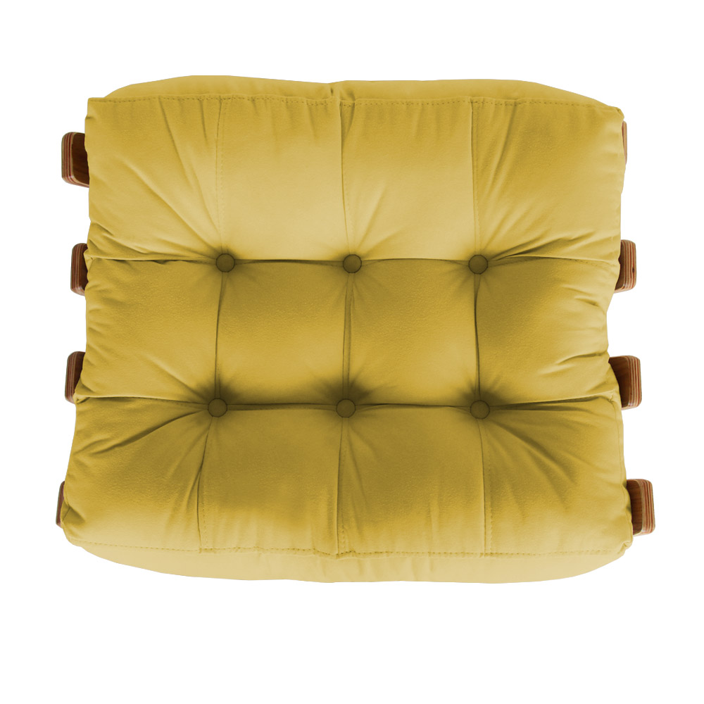 Puff Decorativo Sala de Estar Costela Rib Suede Amarelo