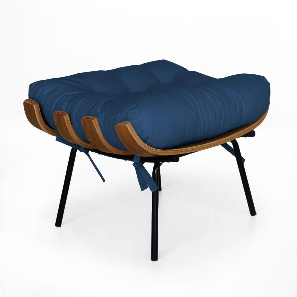 Puff Decorativo Sala de Estar Costela Rib Suede Azul Marinho