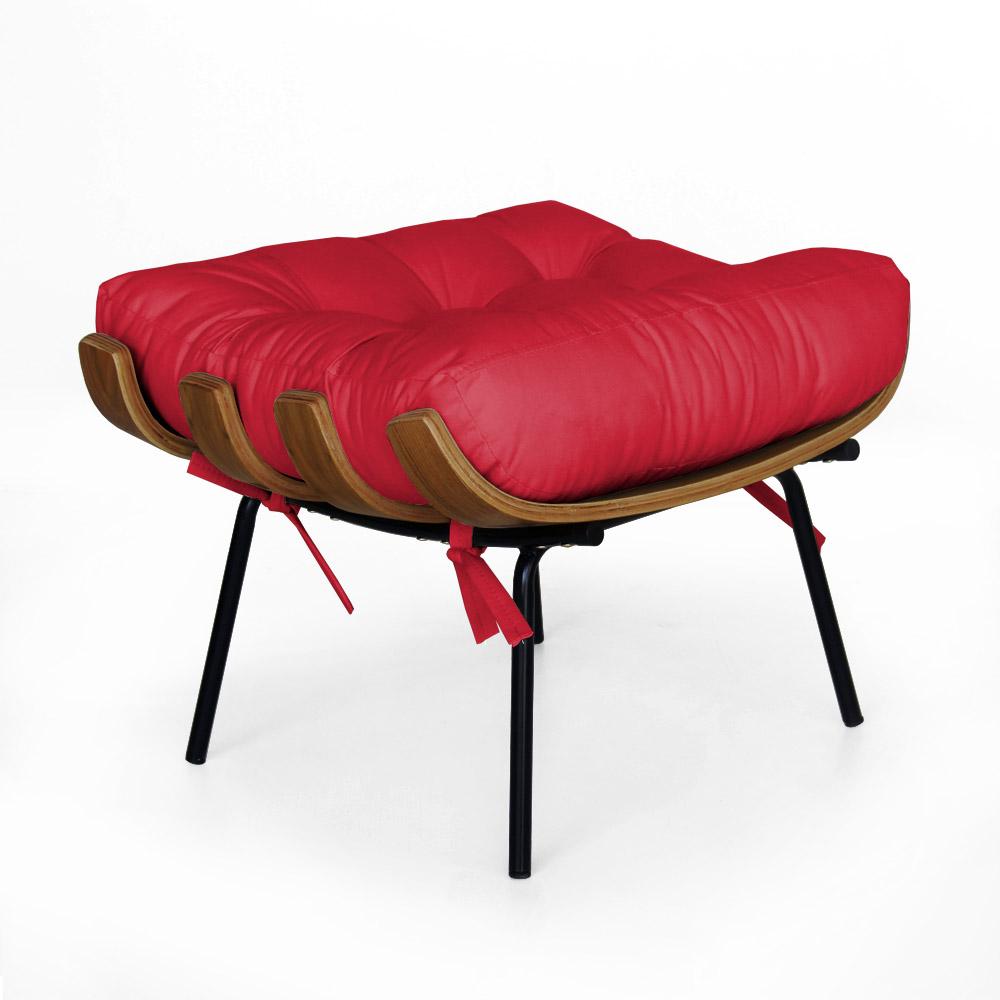 Puff Decorativo Sala de Estar Costela Rib Suede Vermelho