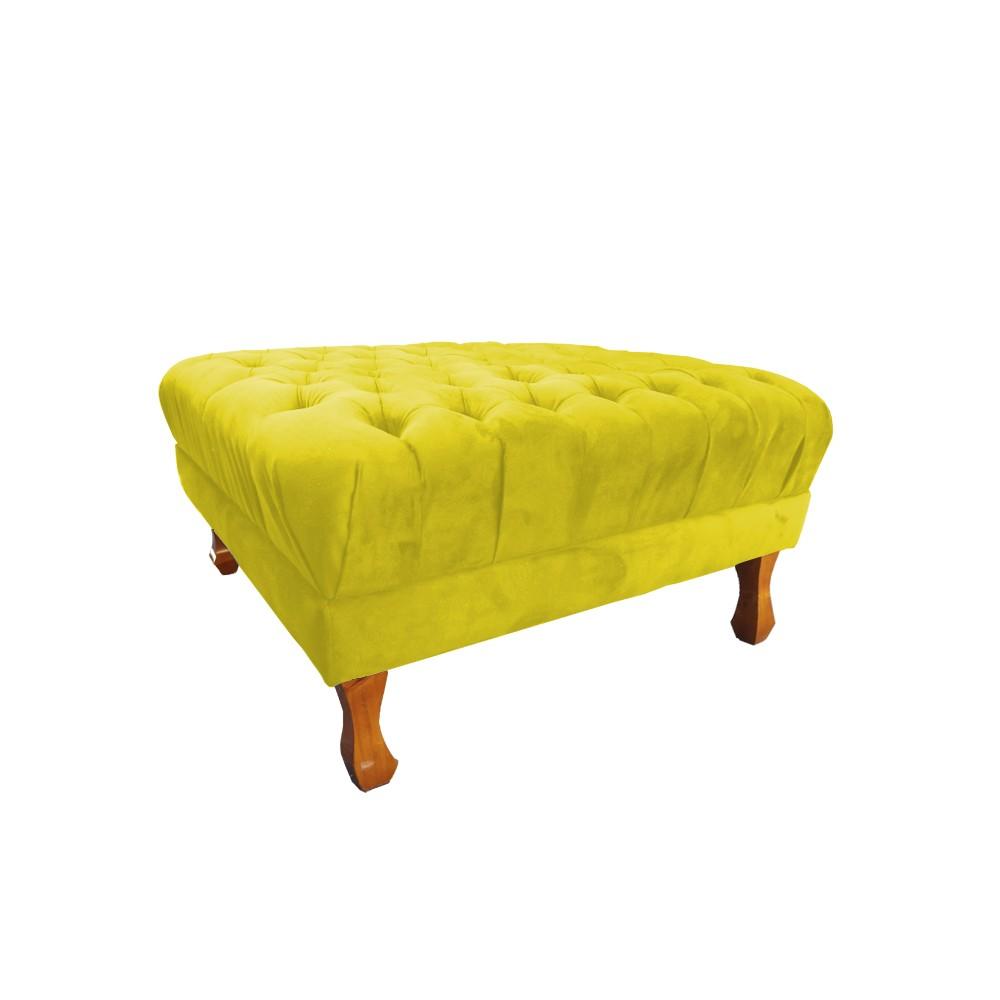 Puff Quadrado Retrô 70 x 70 cm Pés Luiz XV Suede Amarelo