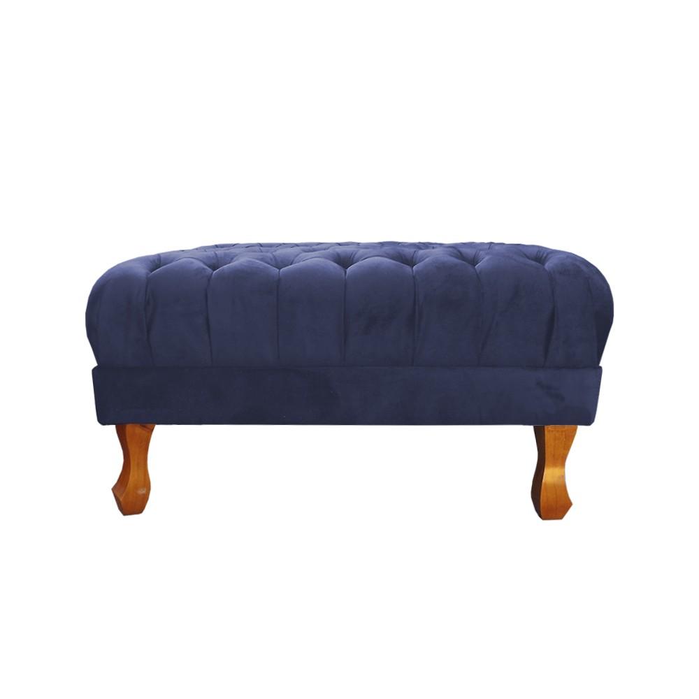 Puff Quadrado Retrô 70 x 70 cm Pés Luiz XV Suede Azul Marinho