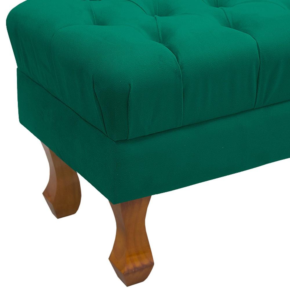 Puff Retangular Retrô 50 cm Capitonê Luiz XV Suede Verde Bandeira