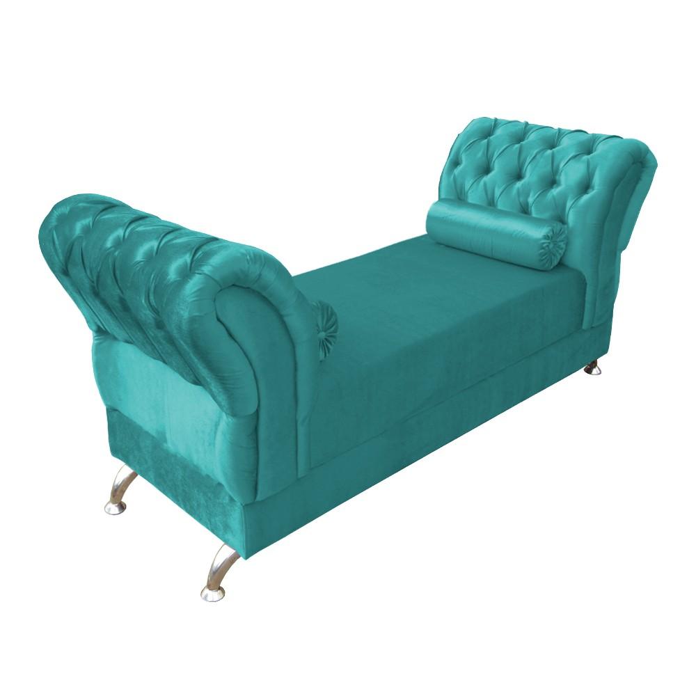 Recamier Divã Beatriz Capitonê Suede Azul Tiffany