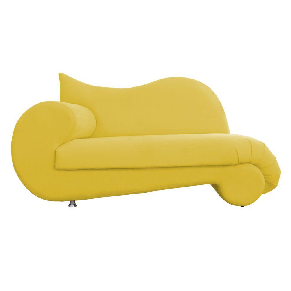 Recamier Divã Poltrona Mara Suede Amarelo Elegante 175cm