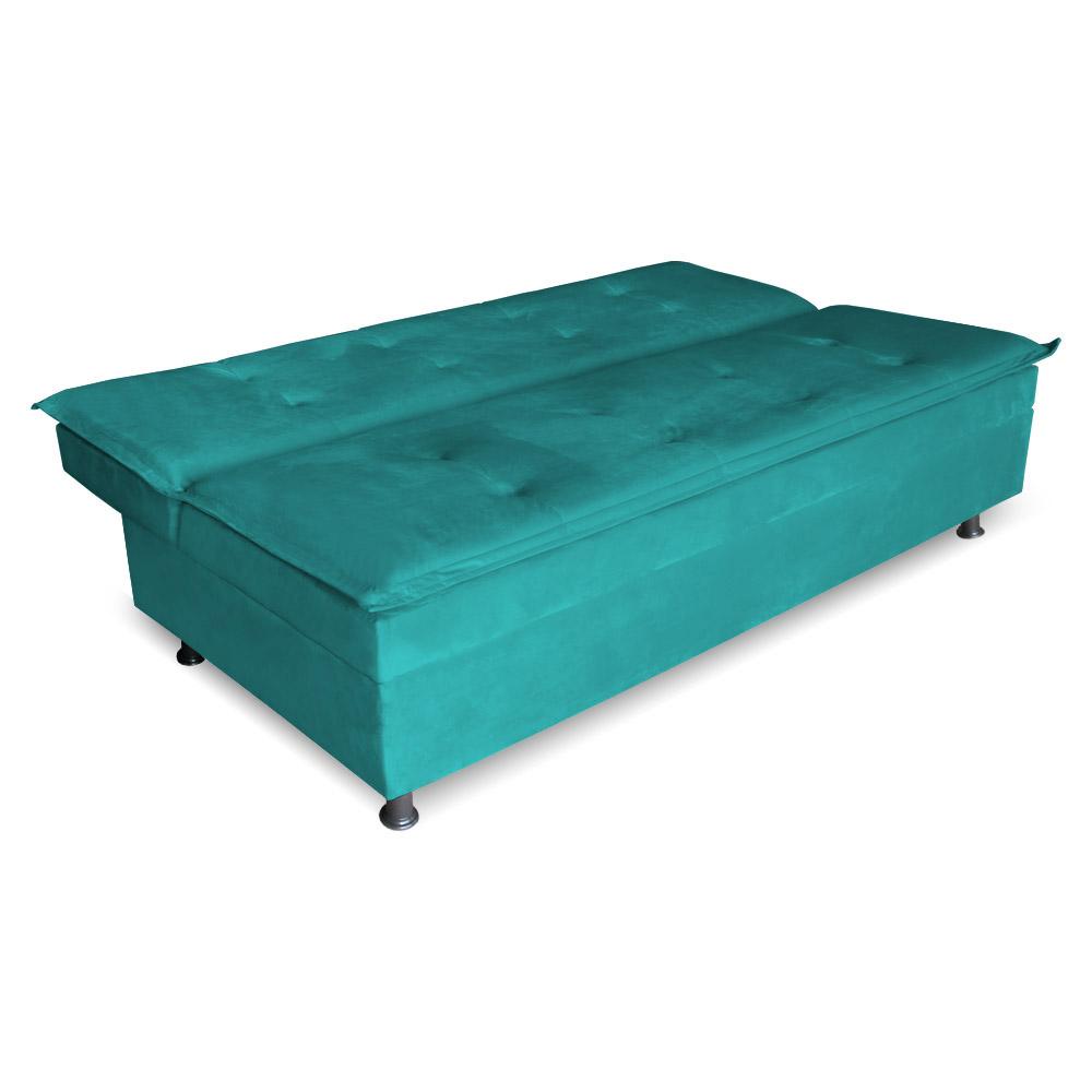 Sofá Cama Reclinável Malu 2 lugares Suede Azul Tiffany