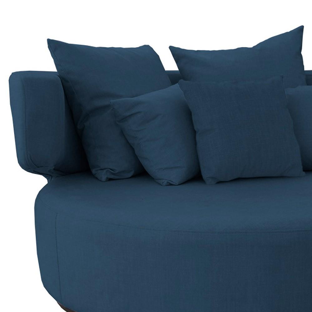 Sofá Chaise Eva Redondo 02 Lugares Suede Azul Marinho