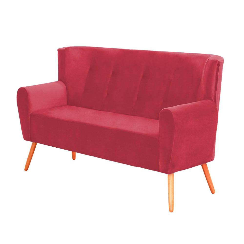 Sofá Namoradeira Sala de Estar Astra com Pés Palito Suede Vermelho- Decorar Estofados