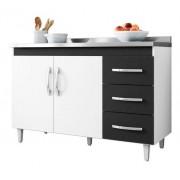 Balcão De Cozinha Isabel 1,20 M Ajl Móveis Cor Branco/preto