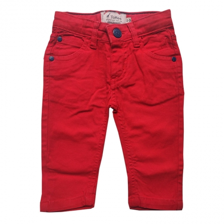 Calça Jeans Infantil Masculina Vermelho Toffee - 0 a 3 meses