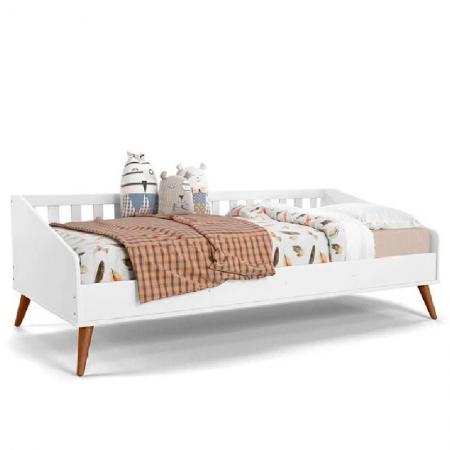 Cama Babá Retrô Matic Cor Branco Soft/Eco Wood