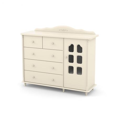 Cômoda Infantil Provence 5 Gavetas 1 Porta Matic Off White