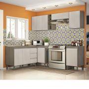 Composição Cozinha Karen 08 módulos Peternella Cor Malbec e Avelã