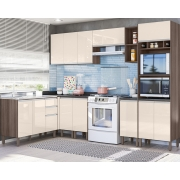 Cozinha Modulada Lis 8 módulos Rud Rack Cor Malbec Off White