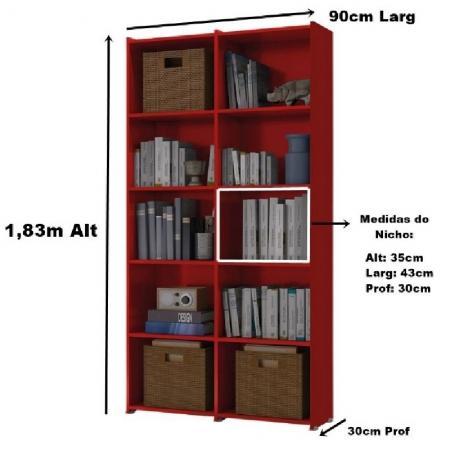 Estante Para Livros Holanda 4 Prateleiras 10 Nichos Vermelho