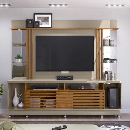Home Theater Tv 55 Polegadas Frizz Gold Com Rodízio Madetec Cor Fendi Naturale
