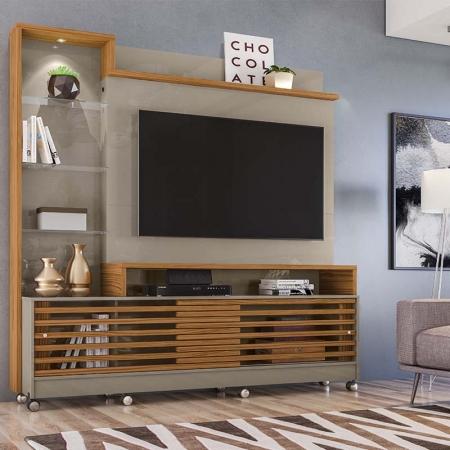 Home Theater Tv 55 Polegadas Frizz Prime Com Rodízio Madetec Cor Fendi Naturale