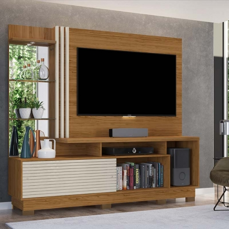 Home Theater Tv 60 Frizz Plus Com Pés Madetec Cor Naturale Off White