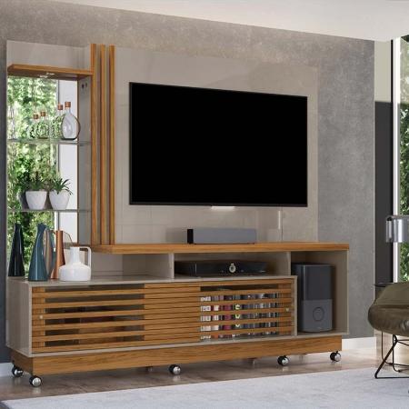 Home Theater Tv 60 Frizz Plus Com Rodízio Madetec Cor Fendi Naturale