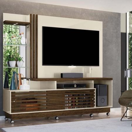 Home Theater Tv 60 Frizz Plus Com Rodízio Madetec Cor Off White Savana