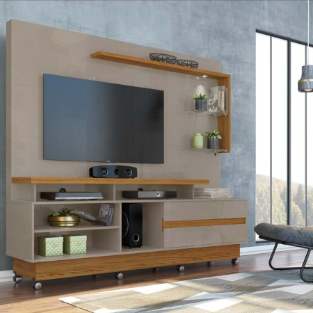 Home Theater Vicente TV  60 Com Rodízio  Madetec Cor Fendi Naturale