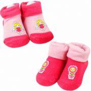 Kit com 02 meias para recém-nascido feminina Anjinha Florzinha Pimpolho