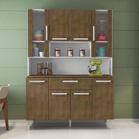 Kit Cozinha Cancun 8 Portas Incorplac Cor Branco Malbec