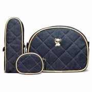 Kit Viagem Classic for Baby Bags Koala Jeans Dourado Azul