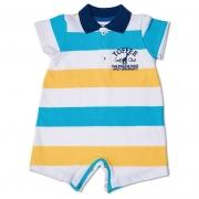Macacão Infantil Gola Polo Listrado Toffee Cor Branca Azul - 6 a 9 meses