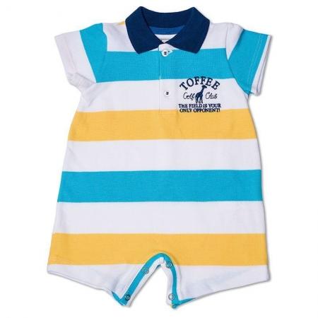 Macacão Infantil Gola Polo Listrado Toffee Cor Branca Azul - 9 a 12 meses