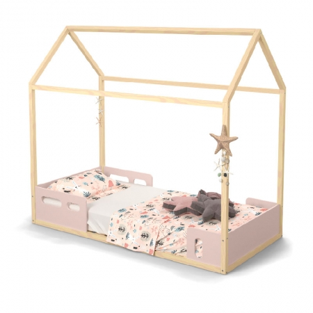 Mini Cama Liv Matic Cor Rosê/Natural